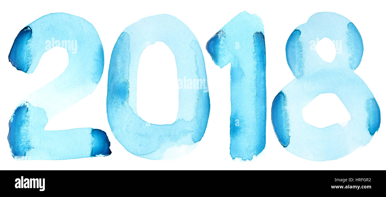 New year 2018 - Blue watercolor number isolated on the white background - Stock Image