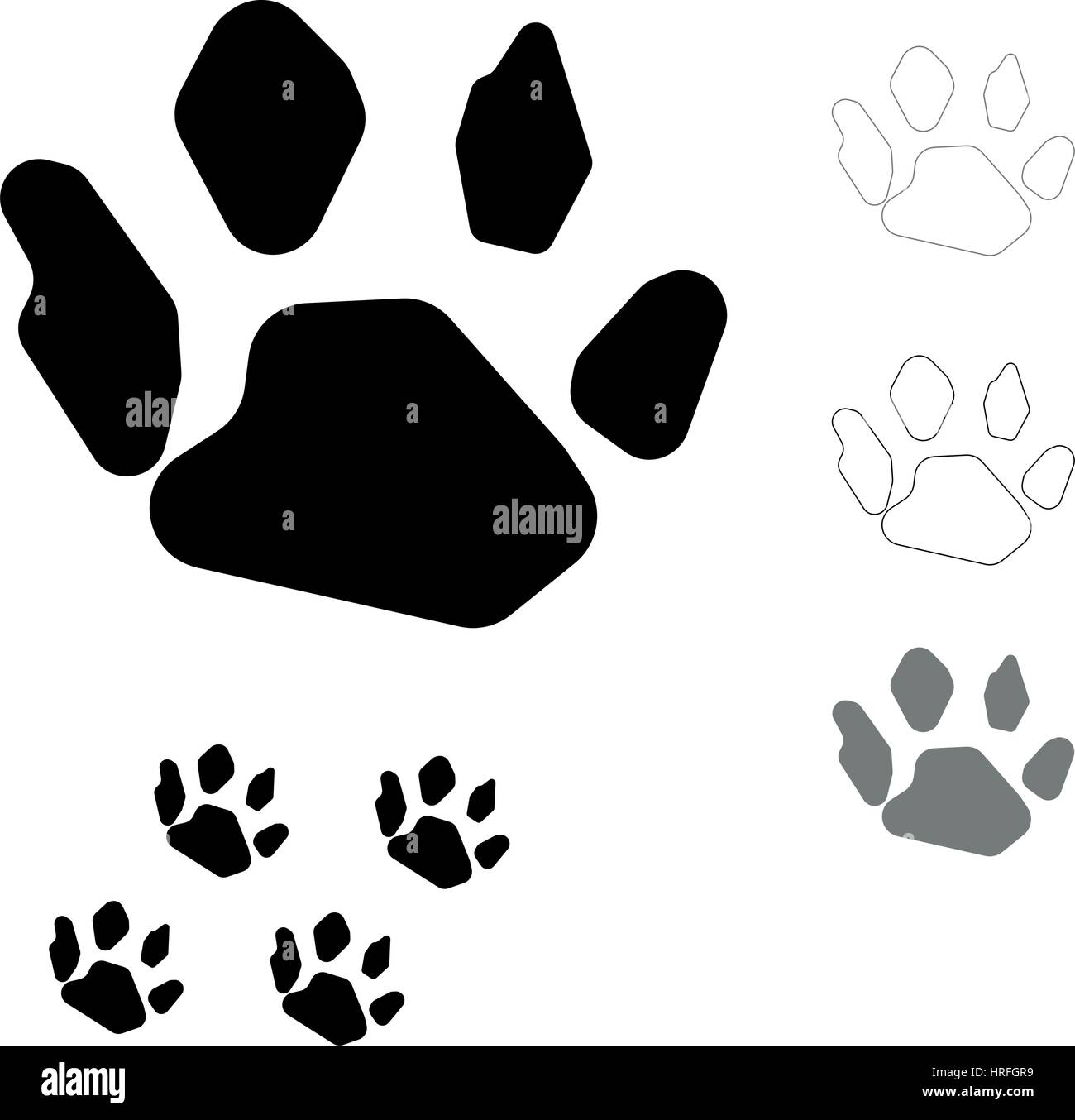 Animals footprint on the white background this is set icons. - Stock Vector