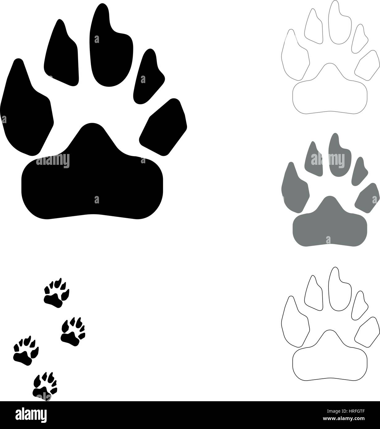 Dog footprint on the white background this is set icons. - Stock Vector