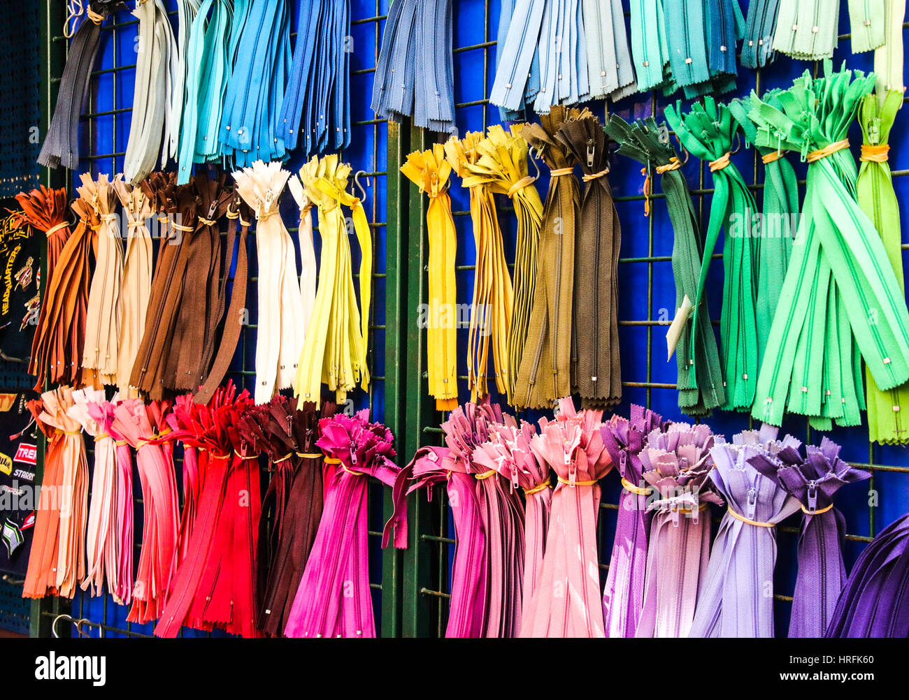 Colored Zippers at the Market in Split - Stock Image