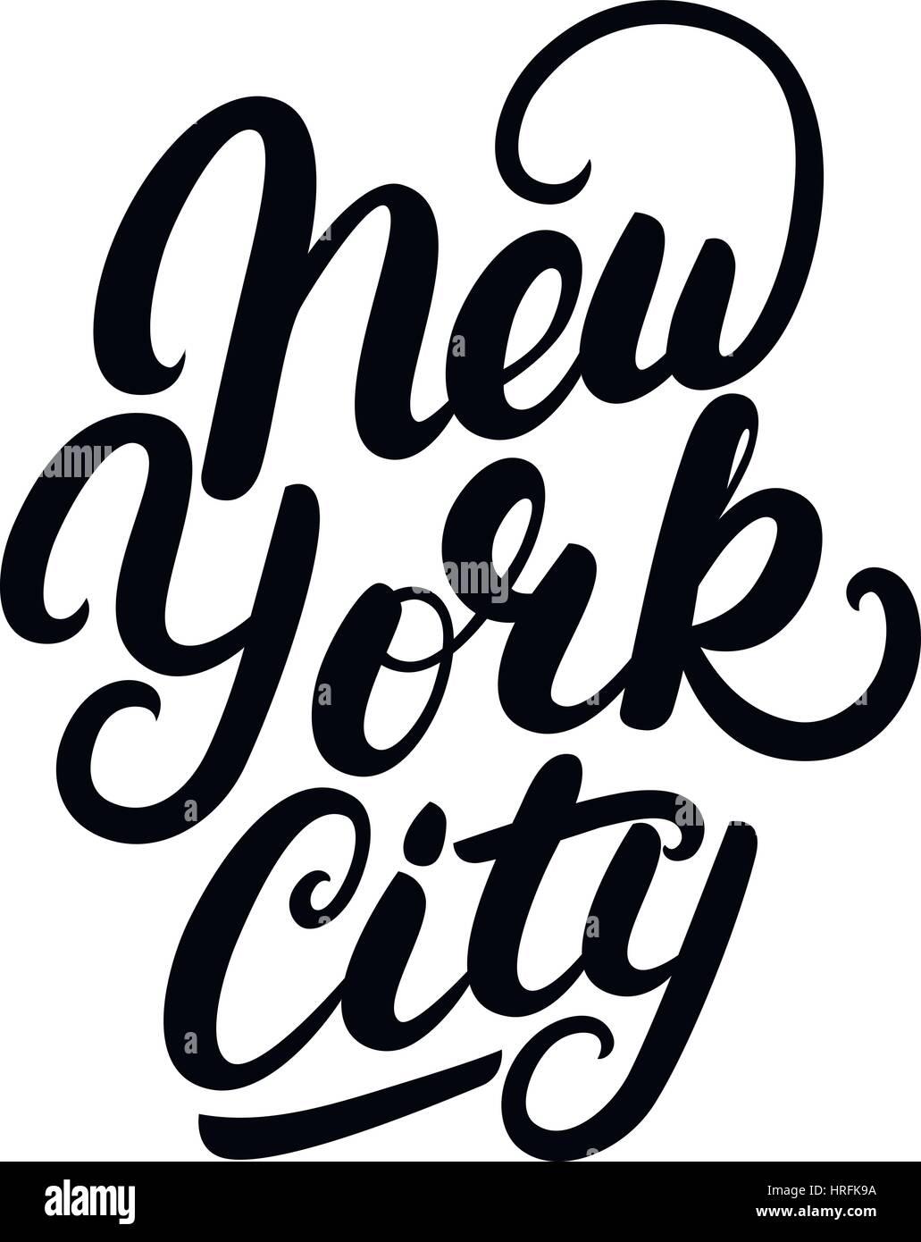 7d04ecce New York City hand written lettering. Modern brush calligraphy. Tee print  apparel fashion design. Hand crafted wall decor art poster. Vector illistrat