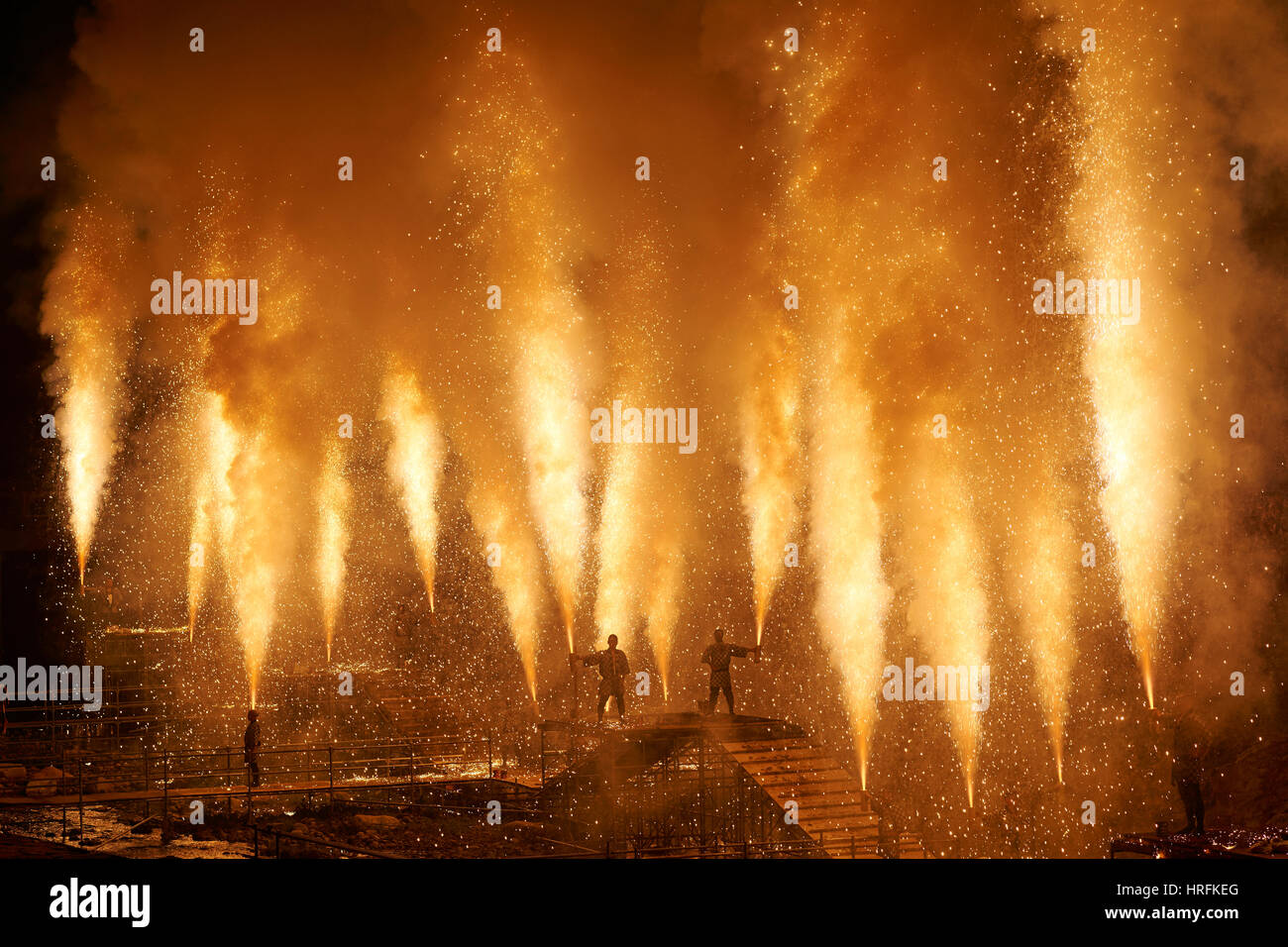 Fireworks in Takayama, Gifu Prefecture, Japan (free public event) - in traditional Japanese style, deployed from Stock Photo