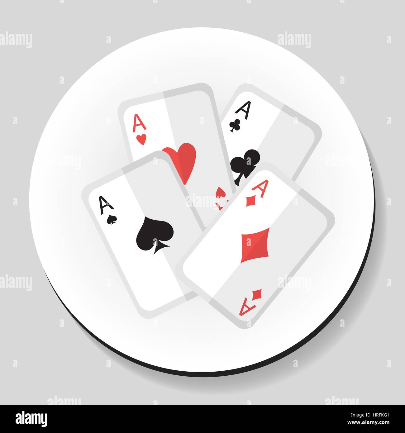 Playing Cards 4 Aces sticker icon flat style. Vector illustration. - Stock Image