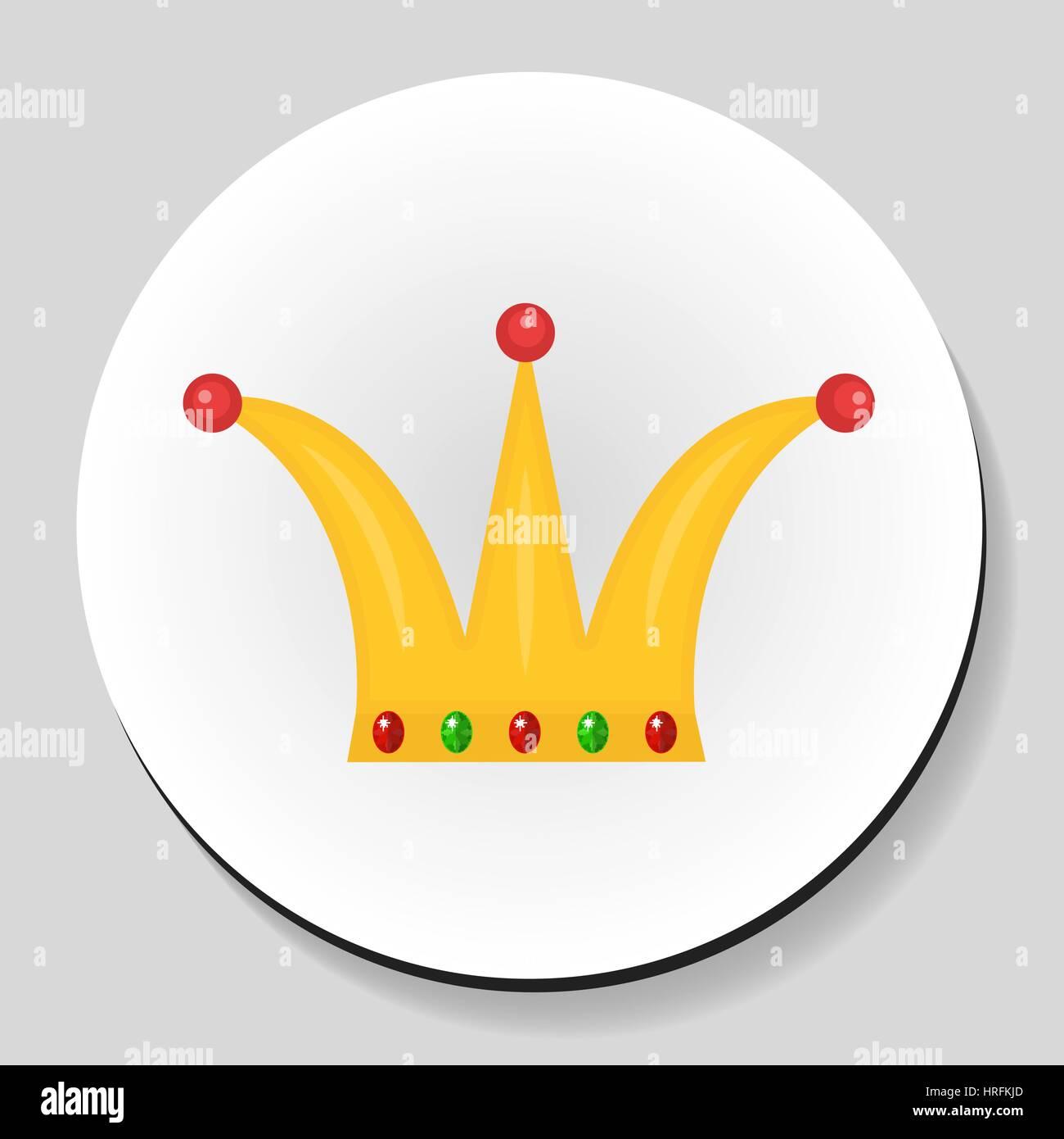 Golden Crown sticker icon flat style. Vector illustration. - Stock Vector