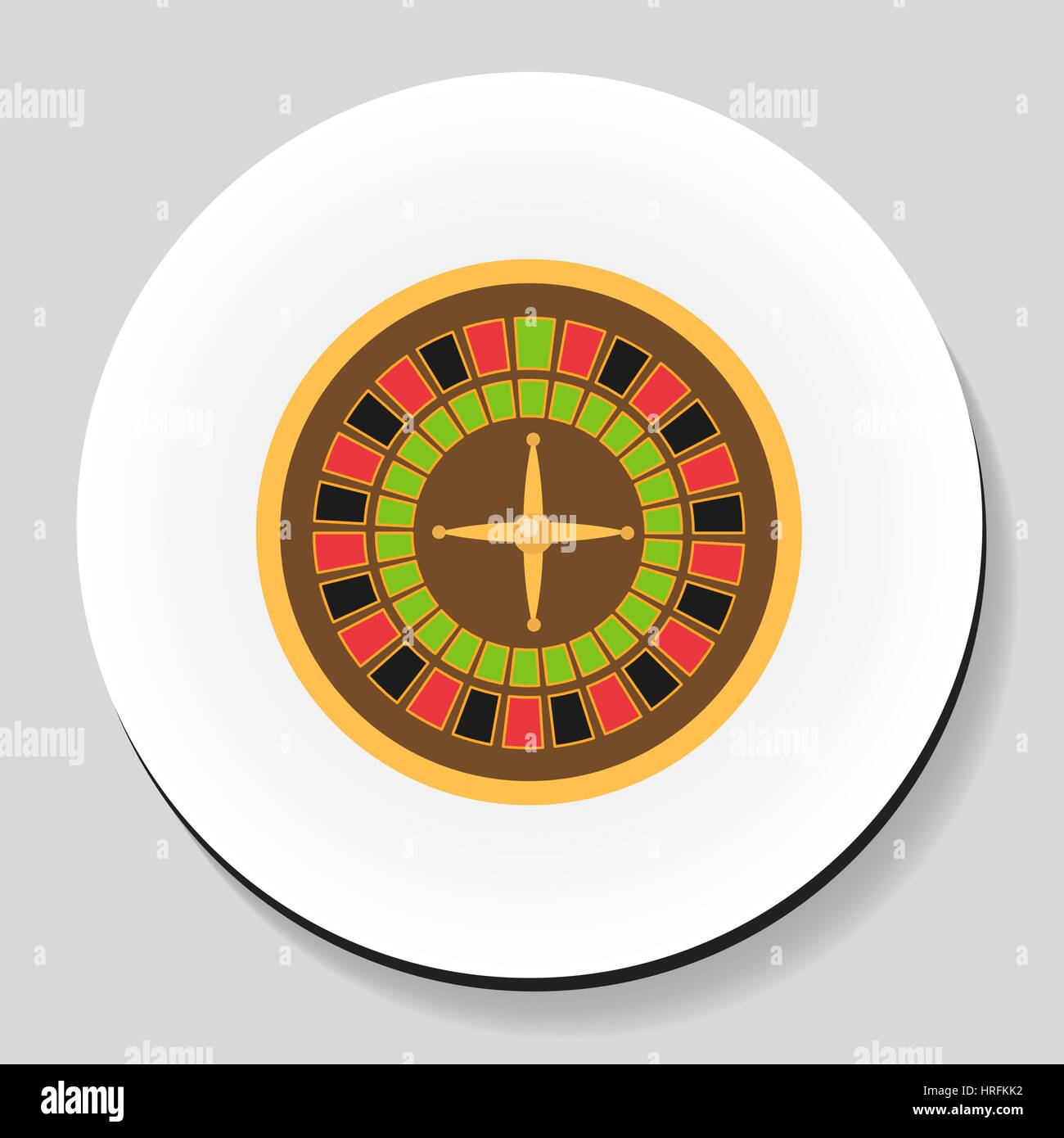Roulette is a casino game sticker icon flat style. Vector illustration. - Stock Vector
