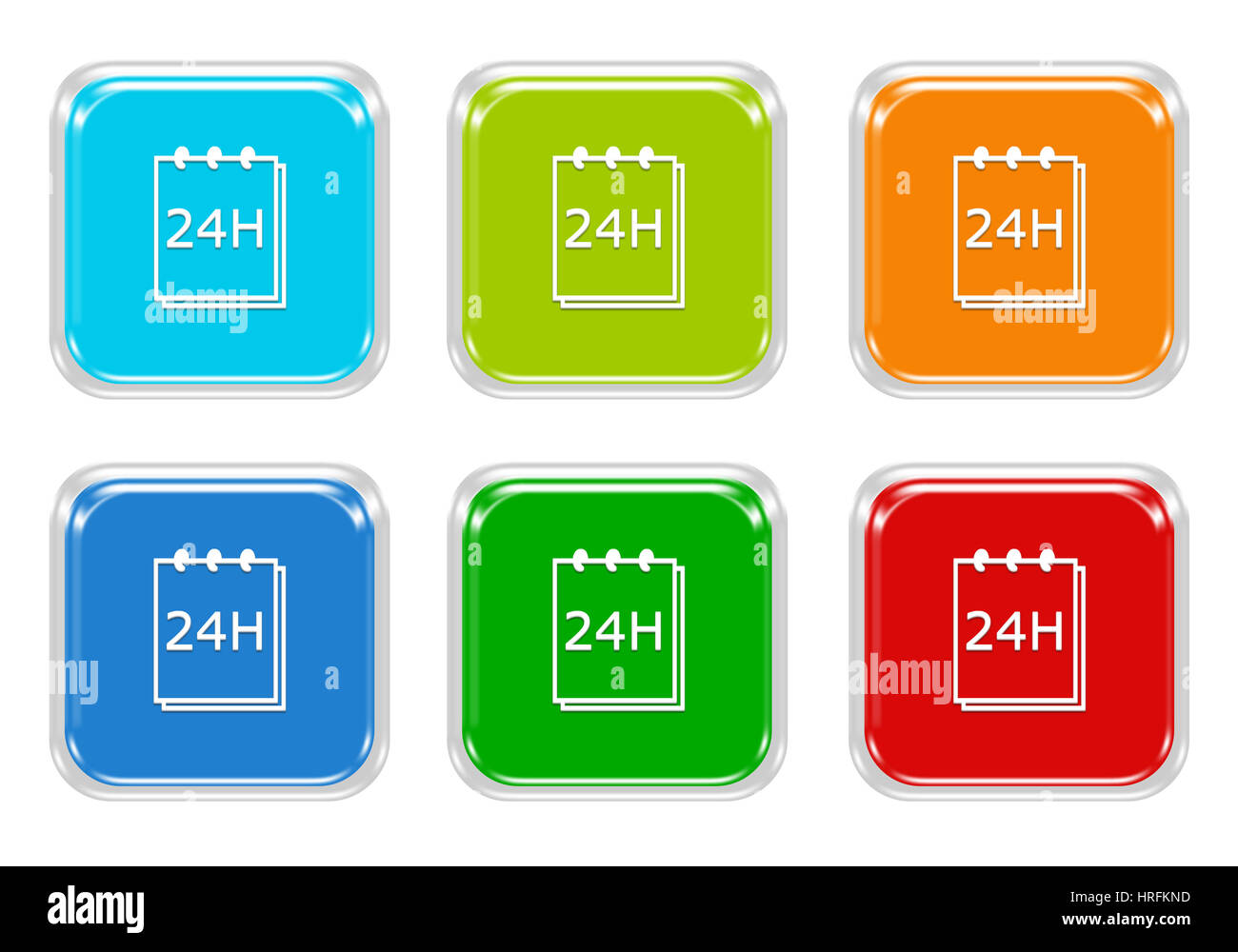 Set Of Squared Colorful Buttons With Notepad 24 Hours Support Symbol