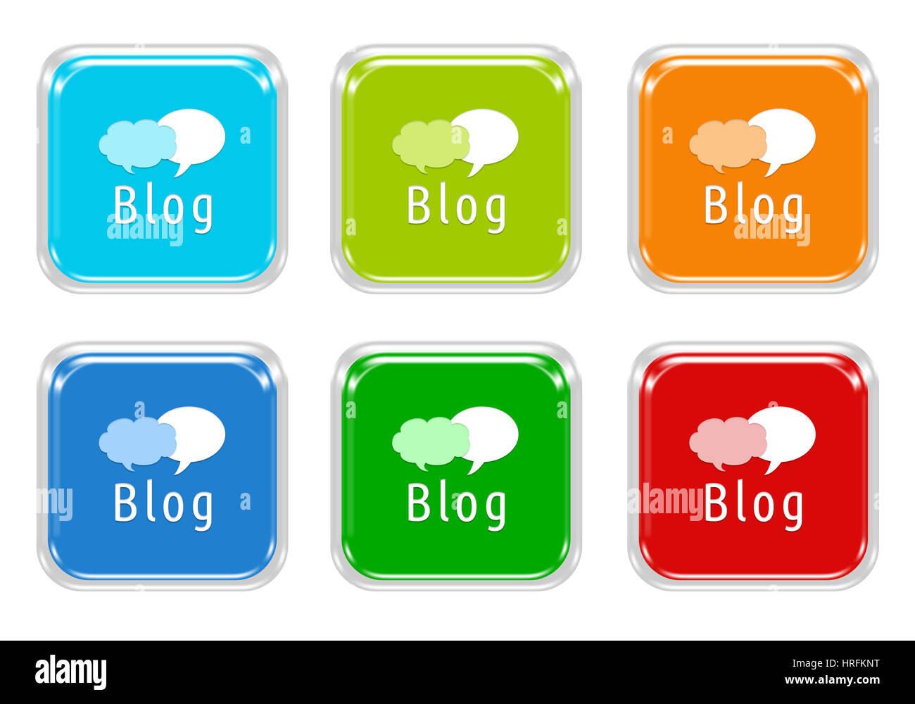 Set Of Squared Colorful Buttons With Blog Symbol In Blue Green Red
