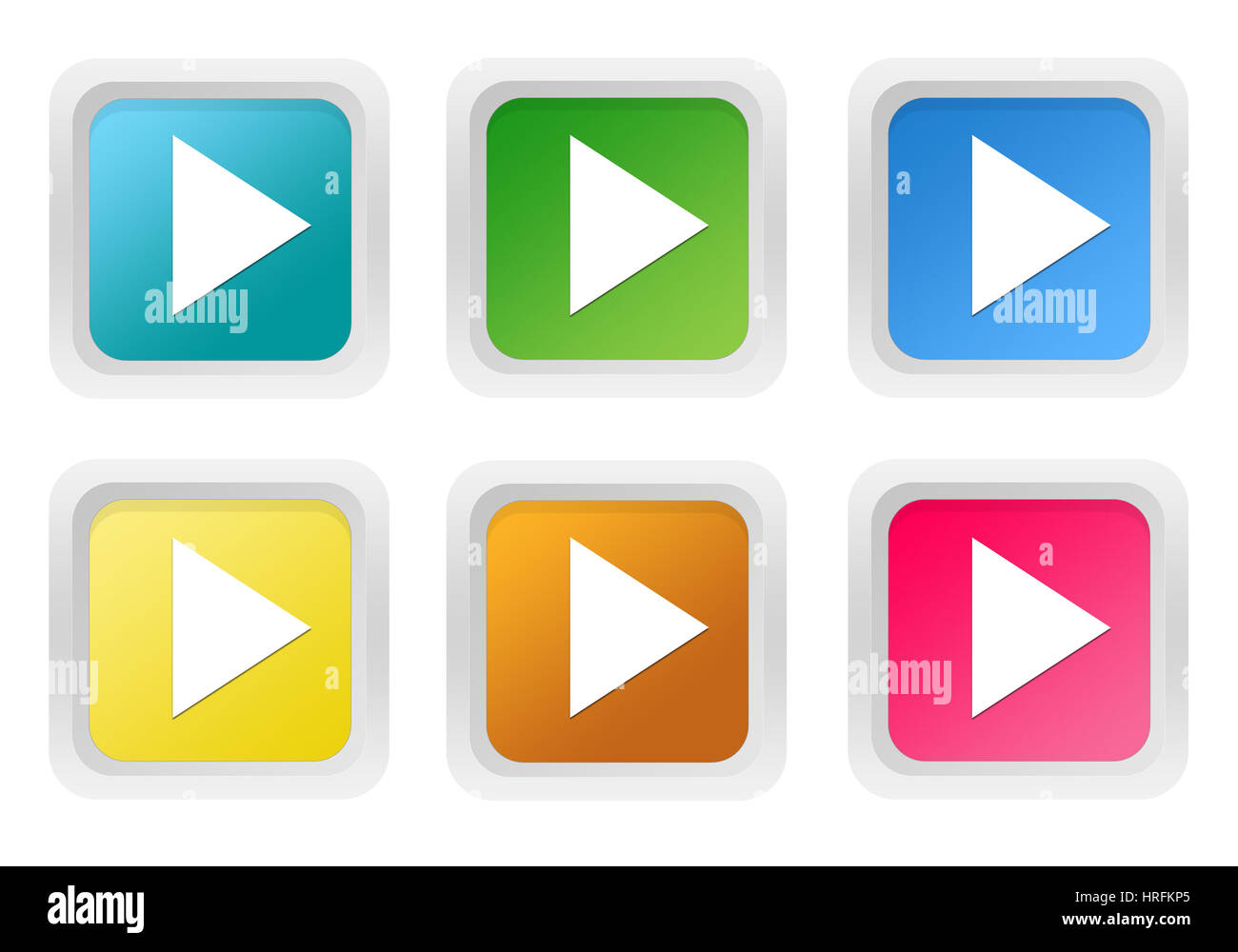 Set Of Squared Colorful Buttons With Arrow Symbol In Blue Green