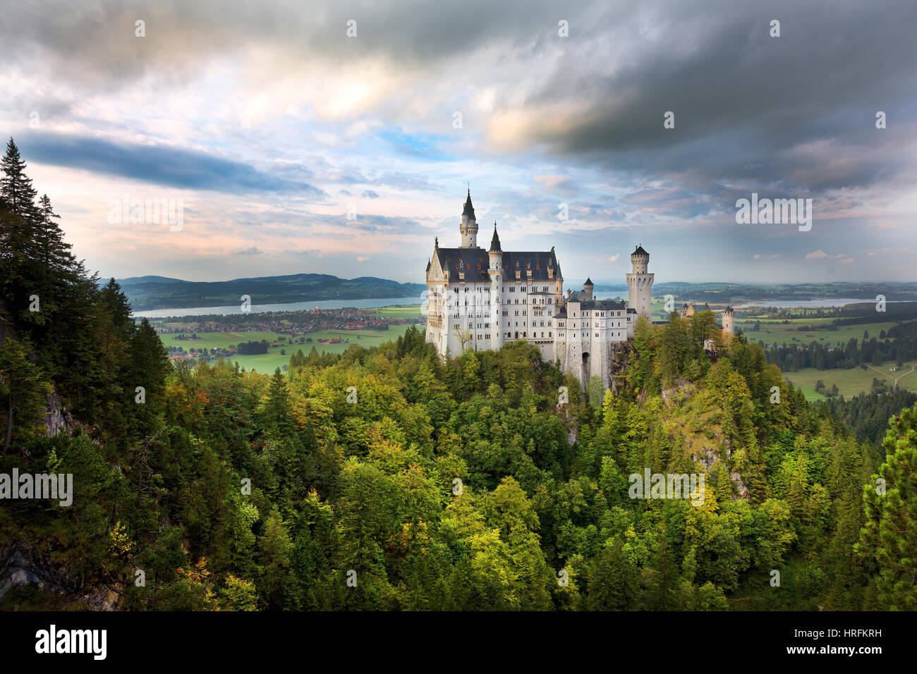 19th Century Romanesque Revival Neuschwanstein Castle, Bavaria, Germany - Stock Image