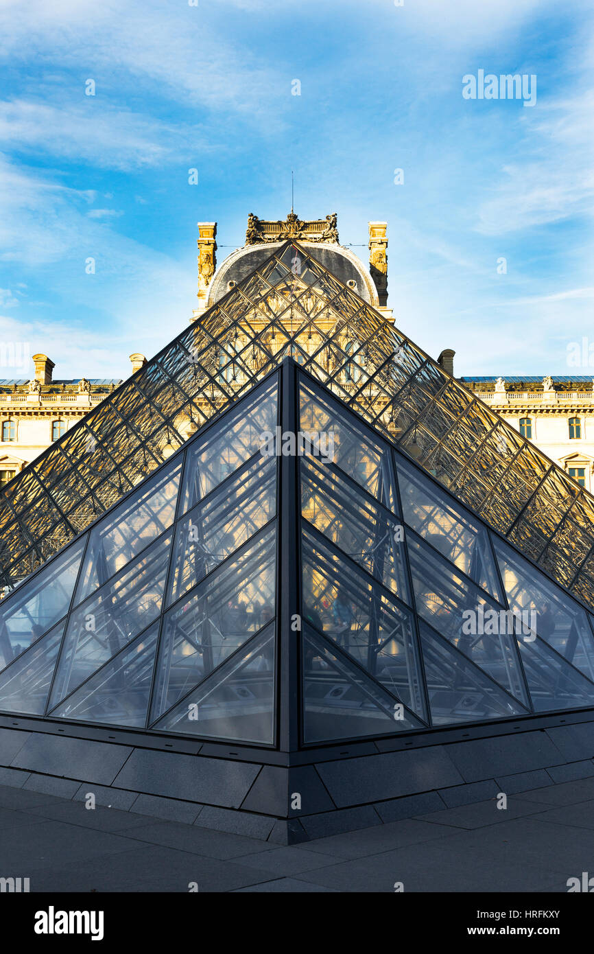 The Louvre old and new architecture structure of the great art collection museum, Paris, France, Europe - Stock Image
