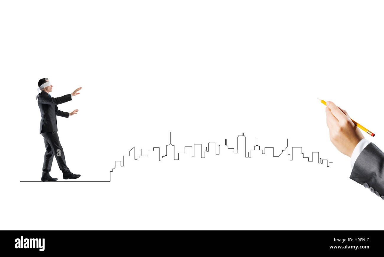 Concept of risk and difficulty with blind businessman steping carefully - Stock Image