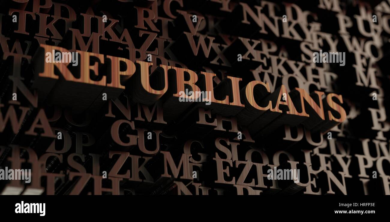 Republicans - Wooden 3D rendered letters/message.  Can be used for an online banner ad or a print postcard. - Stock Image