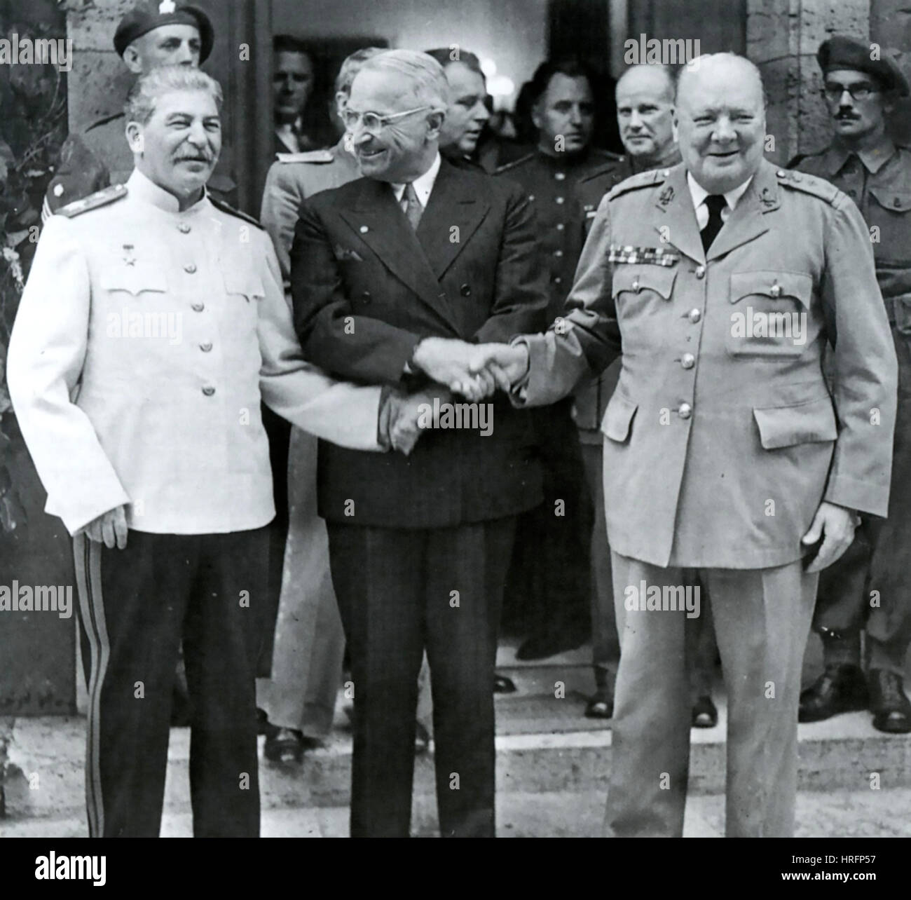 POTSDAM CONFERENCE 1945 From left: Joseph Stalin, Harry Truman, Winston Churchill - Stock Image