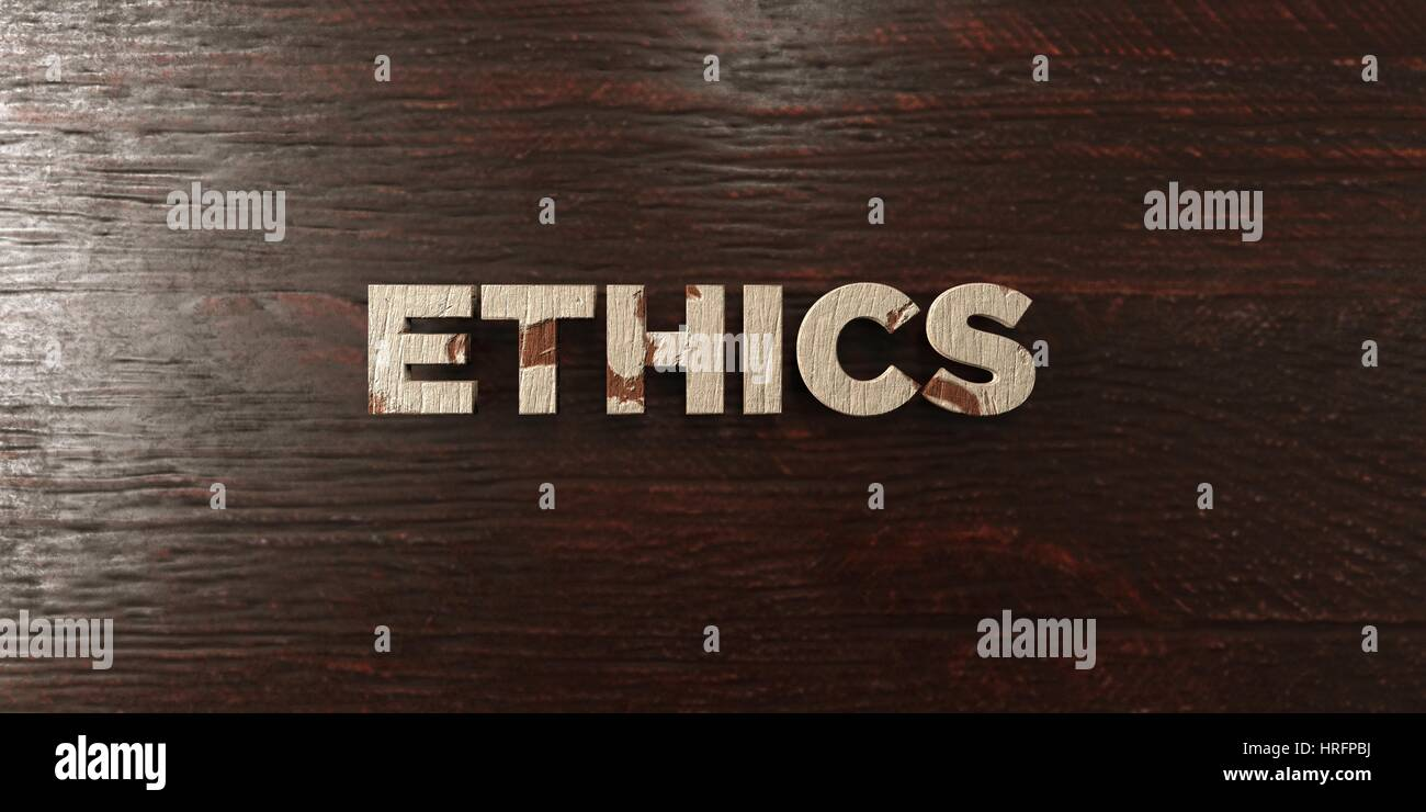 Ethics - grungy wooden headline on Maple  - 3D rendered royalty free stock image. This image can be used for an - Stock Image