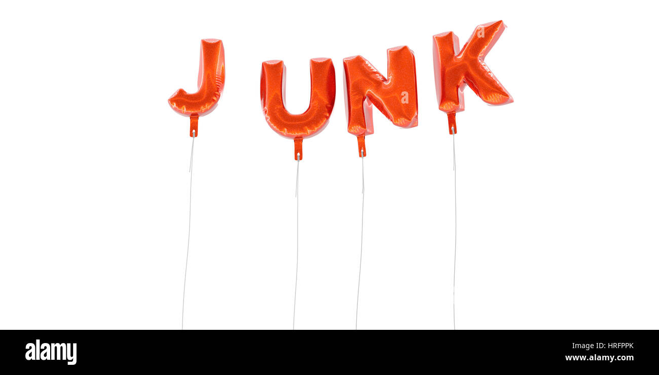 JUNK - word made from red foil balloons - 3D rendered.  Can be used for an online banner ad or a print postcard. - Stock Image