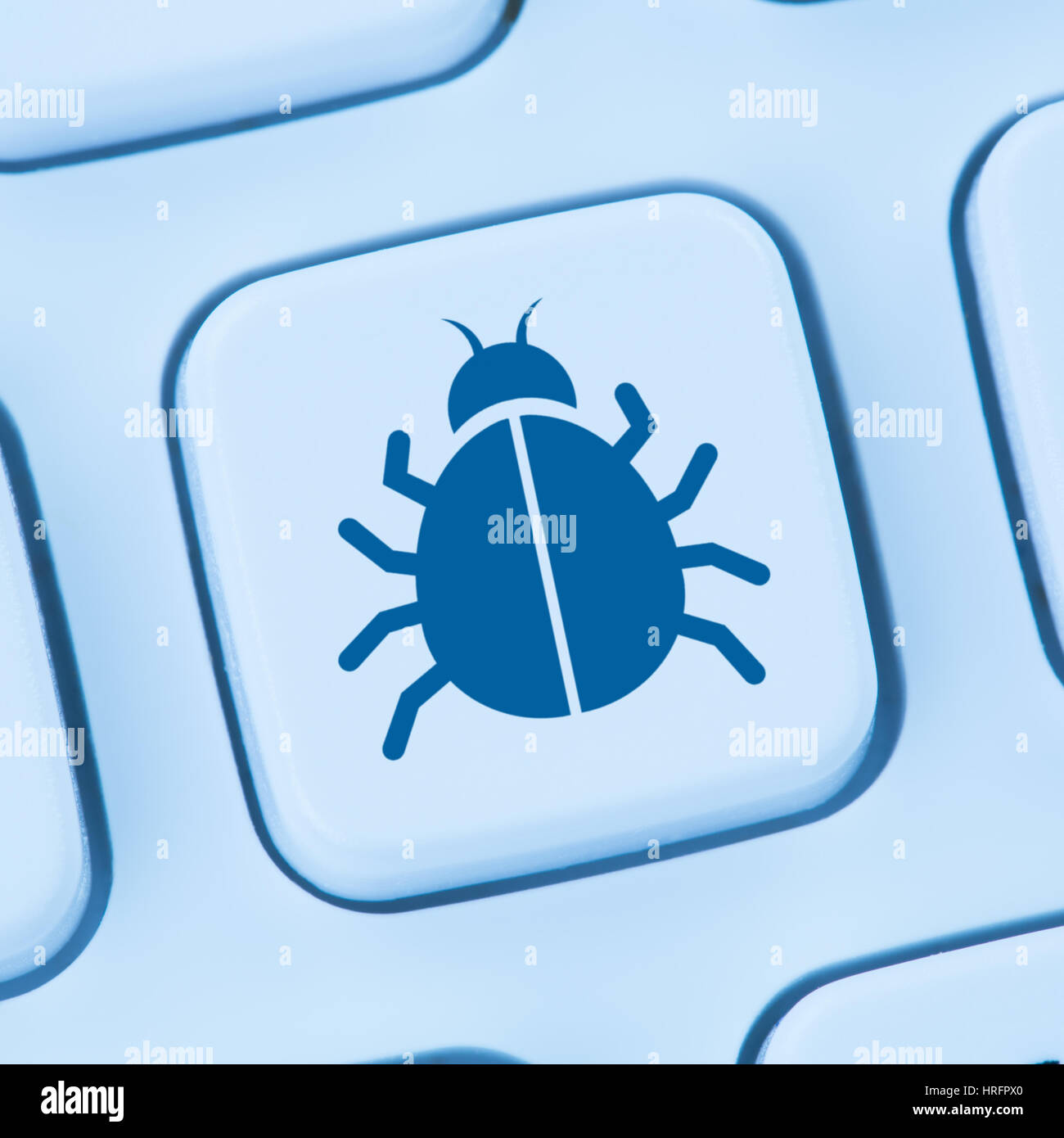 Computer virus Trojan network online security blue internet web keyboard - Stock Image