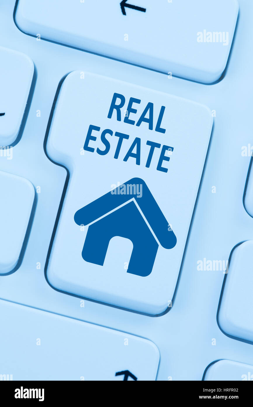 Selling buying real estate home icon online blue computer web keyboard - Stock Image