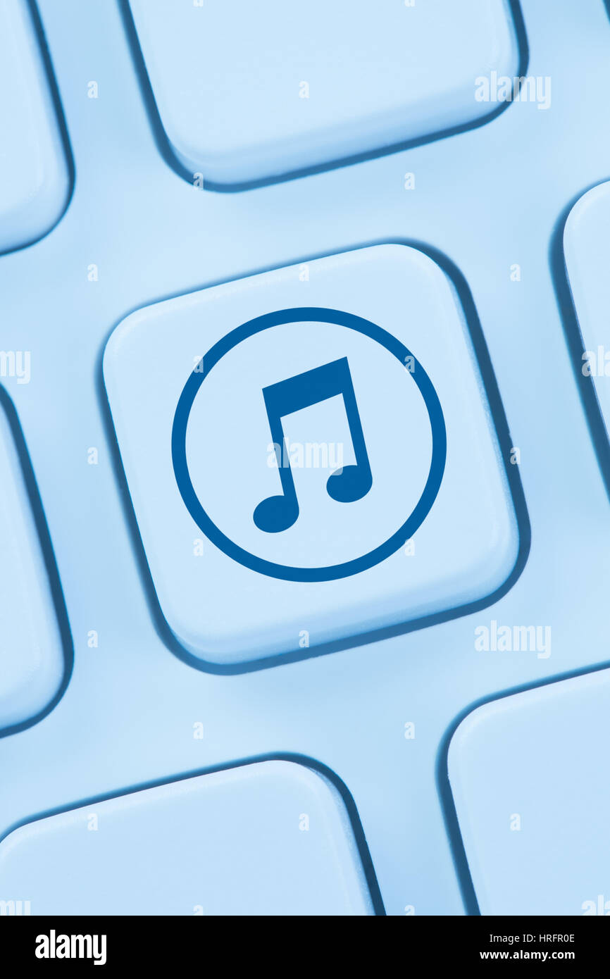 Listening download downloading streaming music internet online web - Stock Image