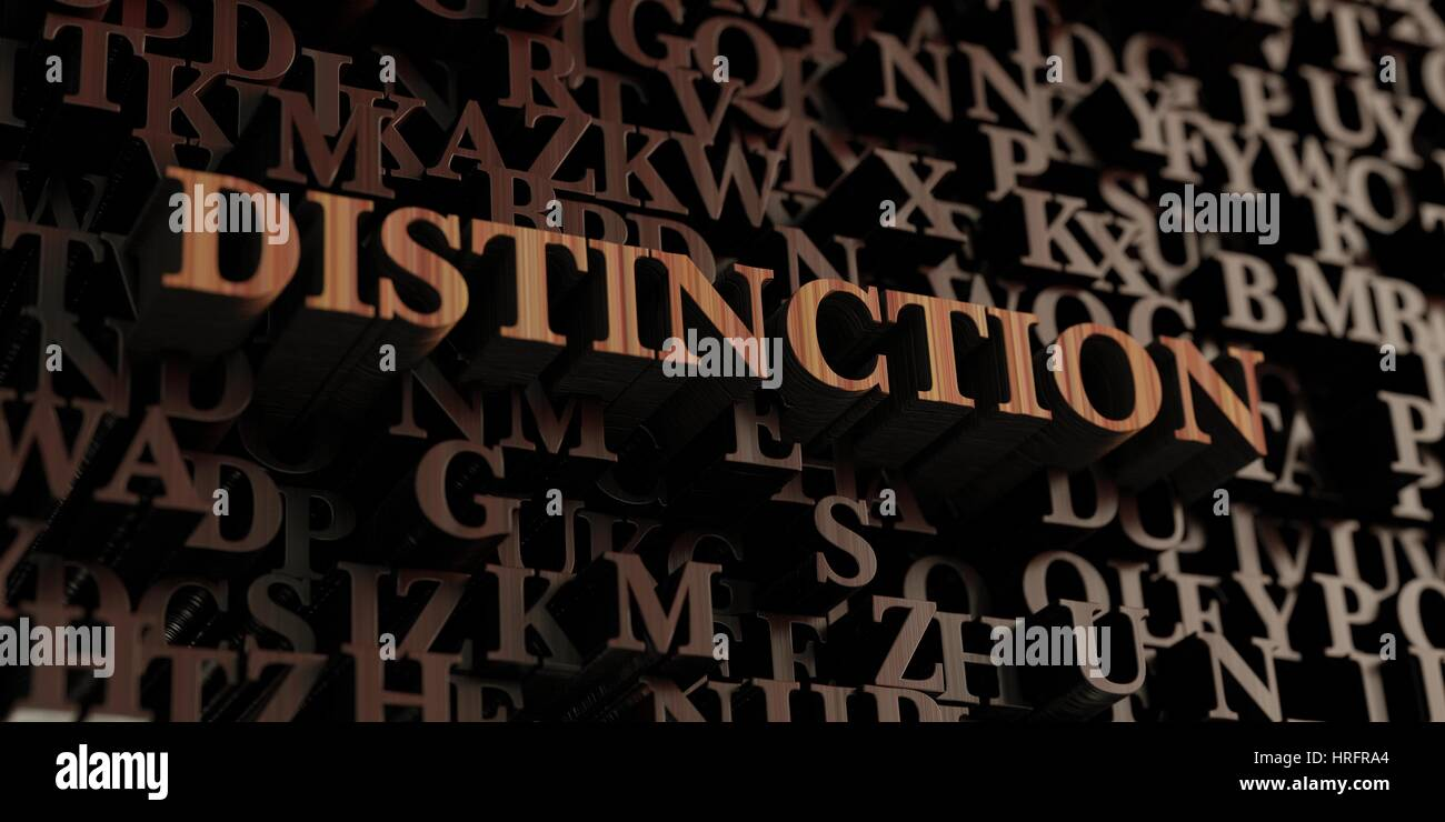 Distinction - Wooden 3D rendered letters/message.  Can be used for an online banner ad or a print postcard. - Stock Image