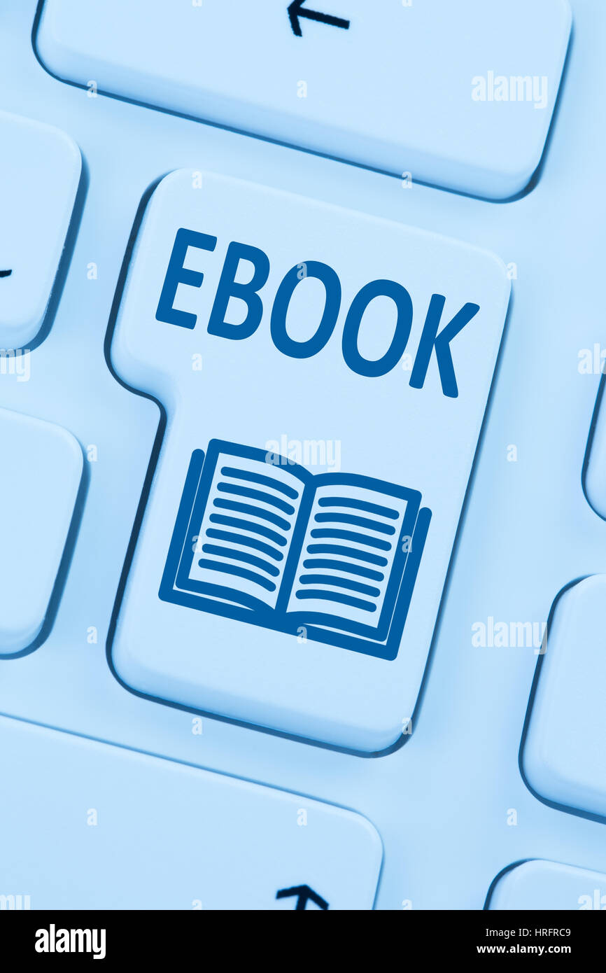 Ordering E-book Ebook download internet blue reading computer online web keyboard - Stock Image