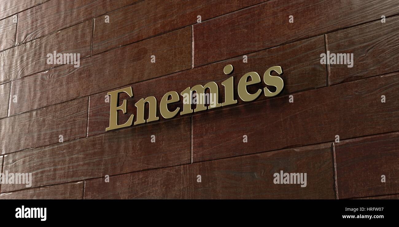 Enemies - Bronze plaque mounted on maple wood wall  - 3D rendered royalty free stock picture. This image can be - Stock Image