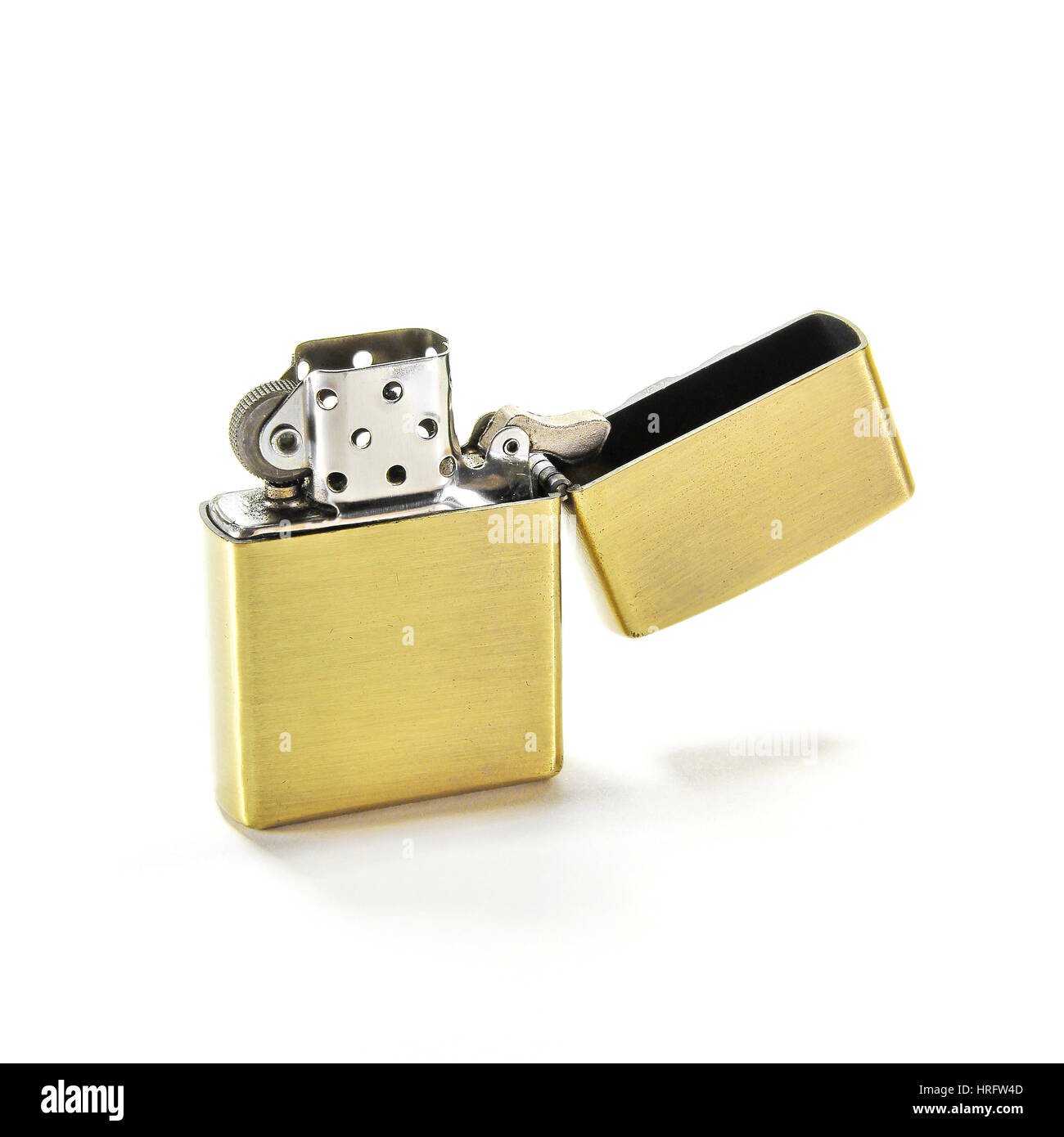 Closed Up Zippo Lighter Isolated on White Background - Stock Image