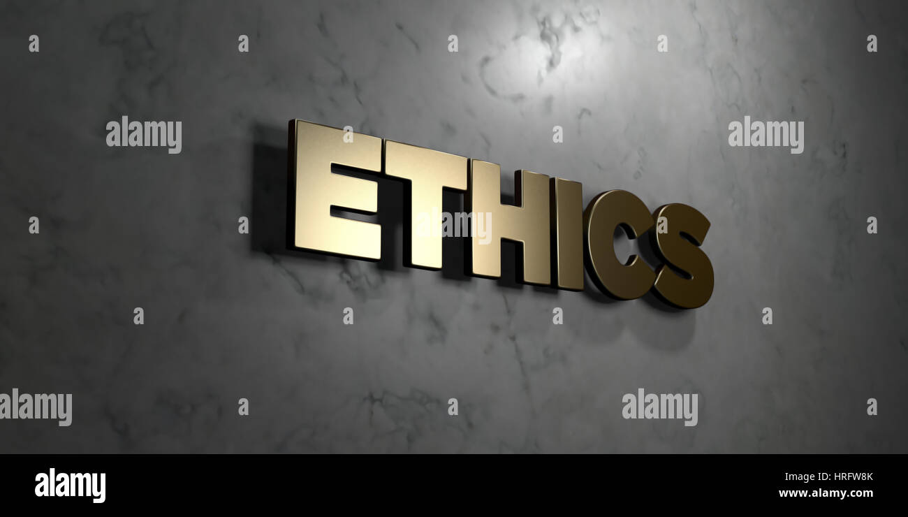 Ethics - Gold sign mounted on glossy marble wall  - 3D rendered royalty free stock illustration. This image can - Stock Image
