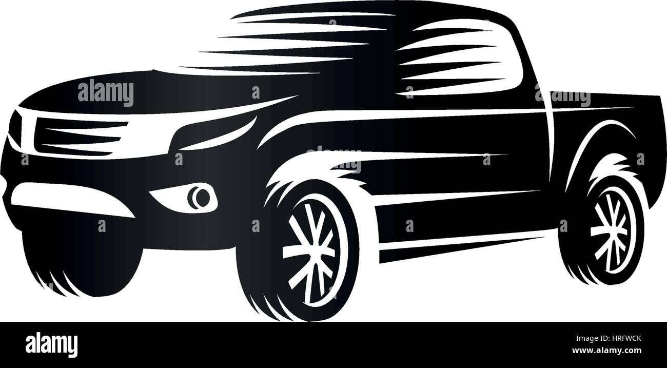 Black And White Photos Of Old Cars >> Isolated monochrome engraving style pickup trucks logo, cars Stock Vector Art & Illustration ...