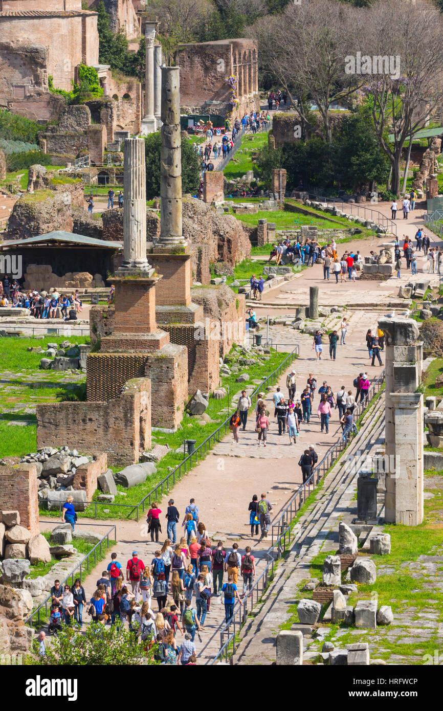 Rome, Italy.  The Roman Forum.  Via Sacra, the Sacred Way. - Stock Image