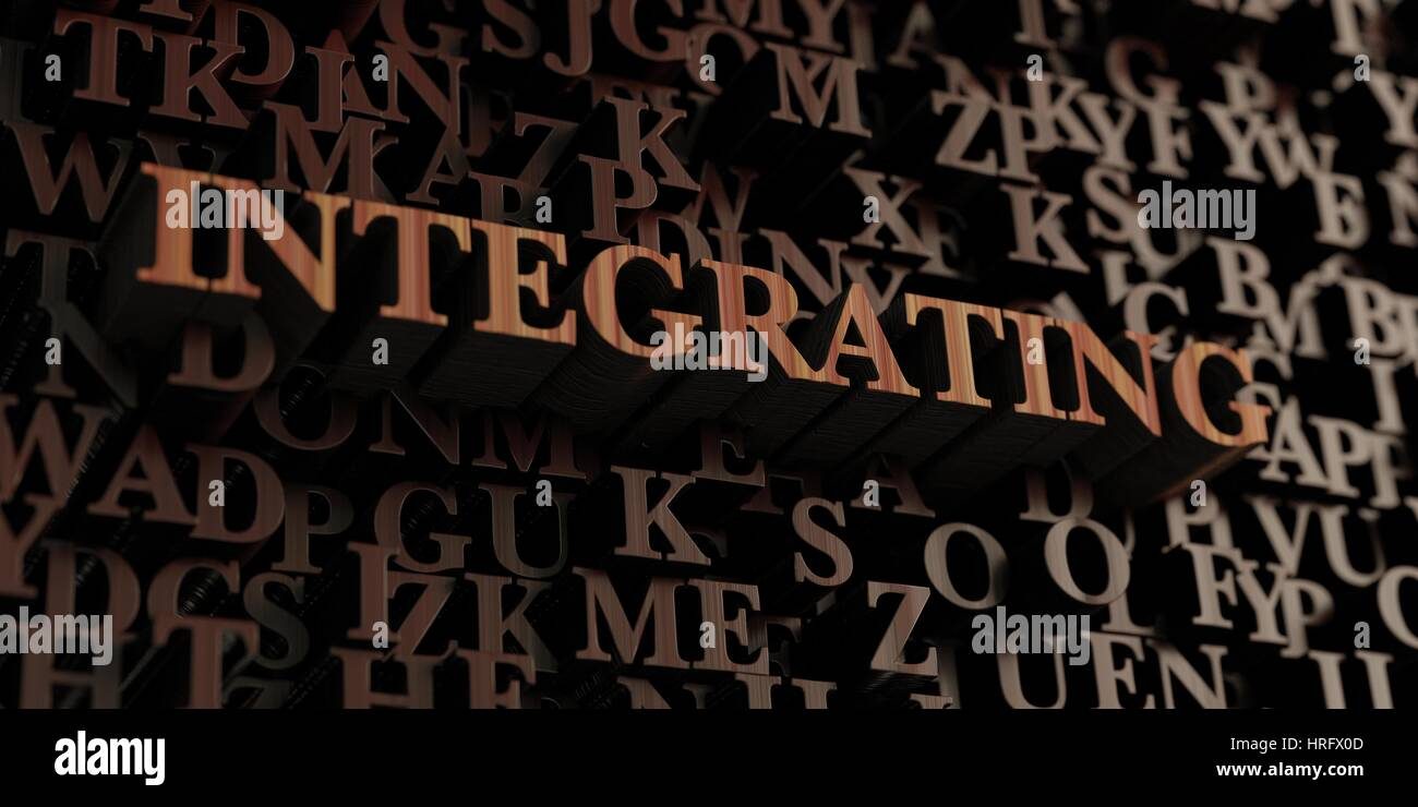 Integrating - Wooden 3D rendered letters/message.  Can be used for an online banner ad or a print postcard. - Stock Image
