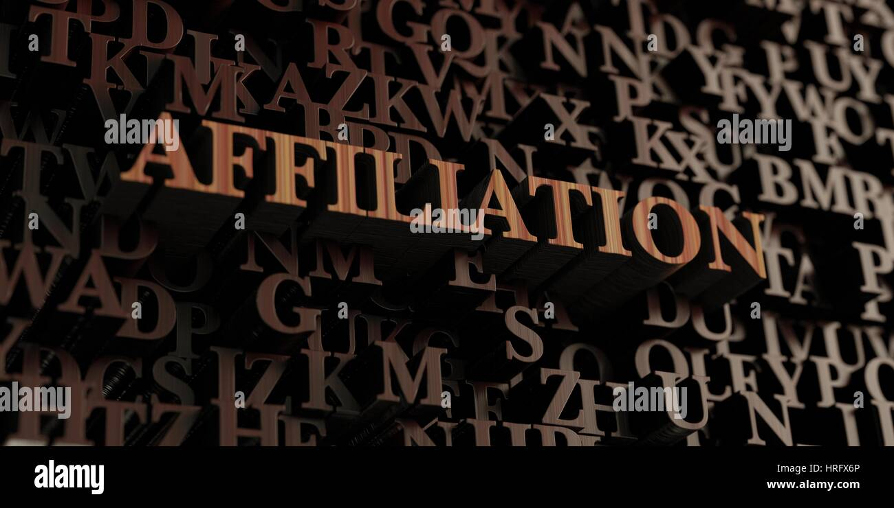 Affiliation - Wooden 3D rendered letters/message.  Can be used for an online banner ad or a print postcard. - Stock Image