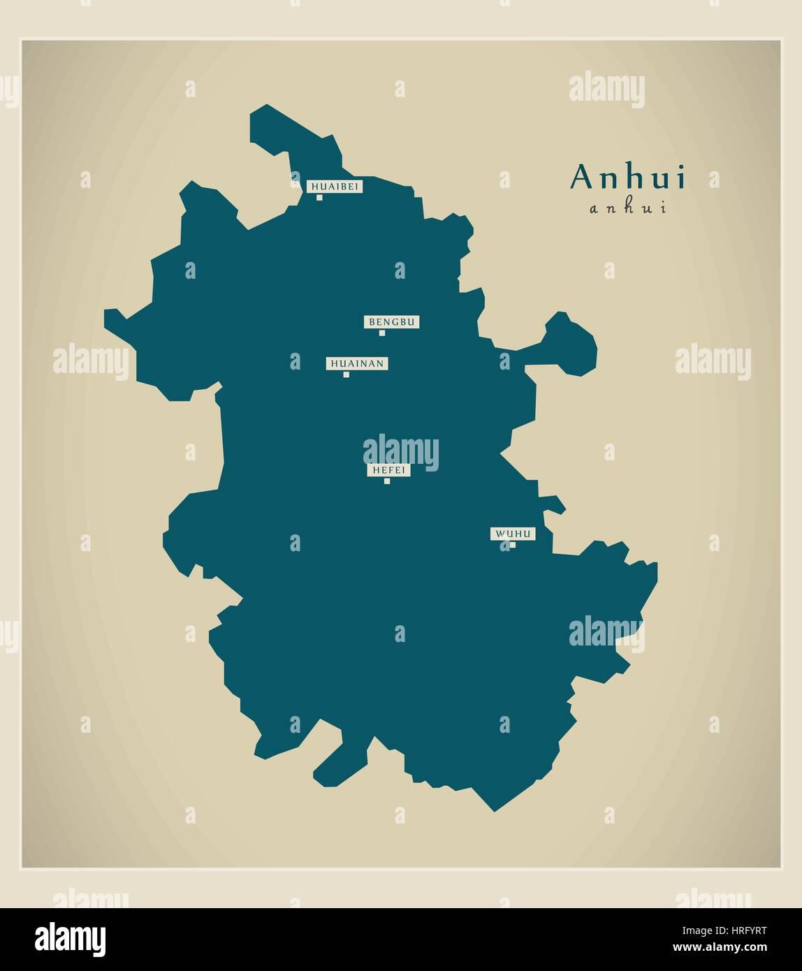 Modern Map - Anhui - Stock Image