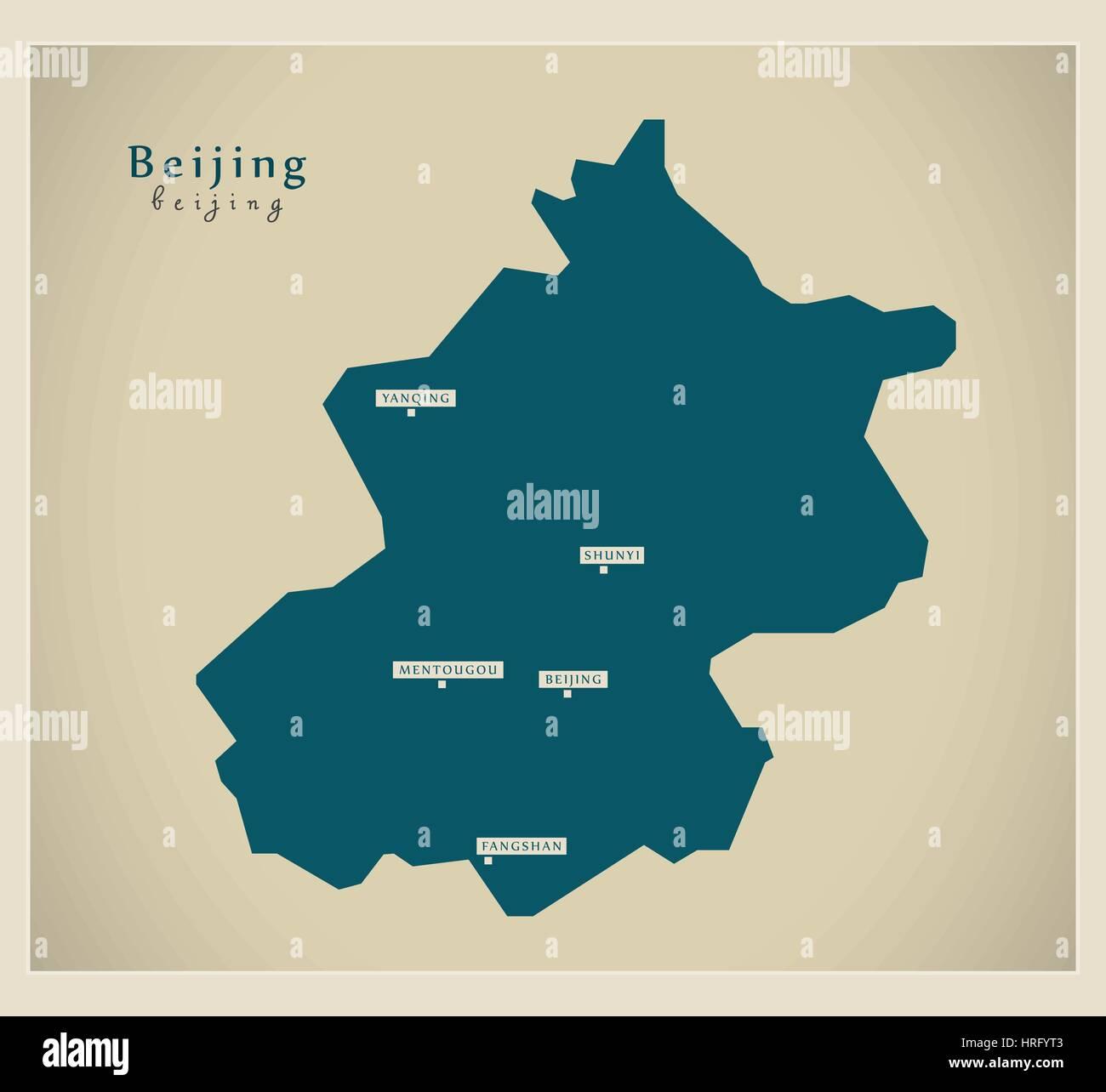 Modern Map - Beijing - Stock Image