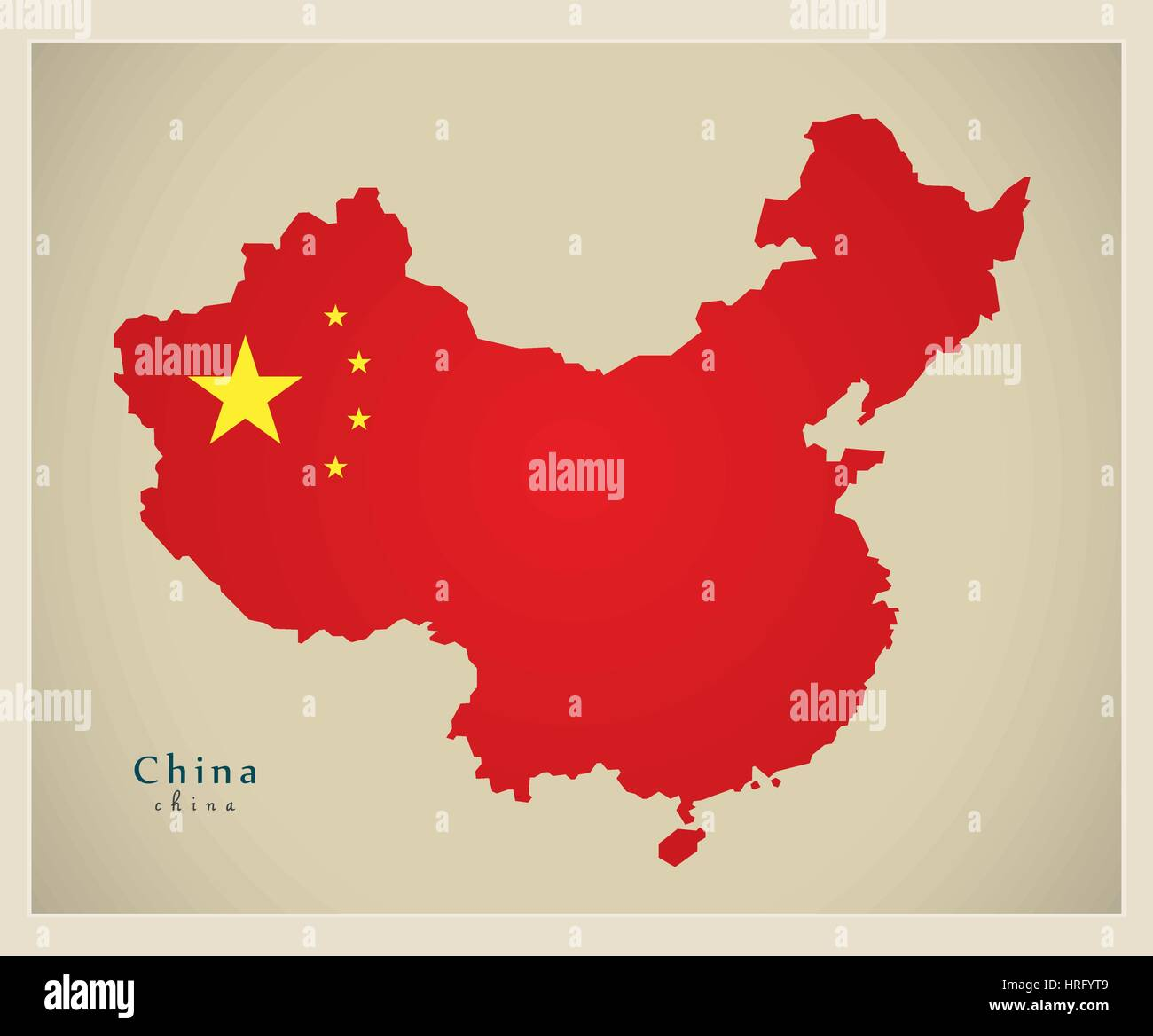 Modern Map - China - Stock Image