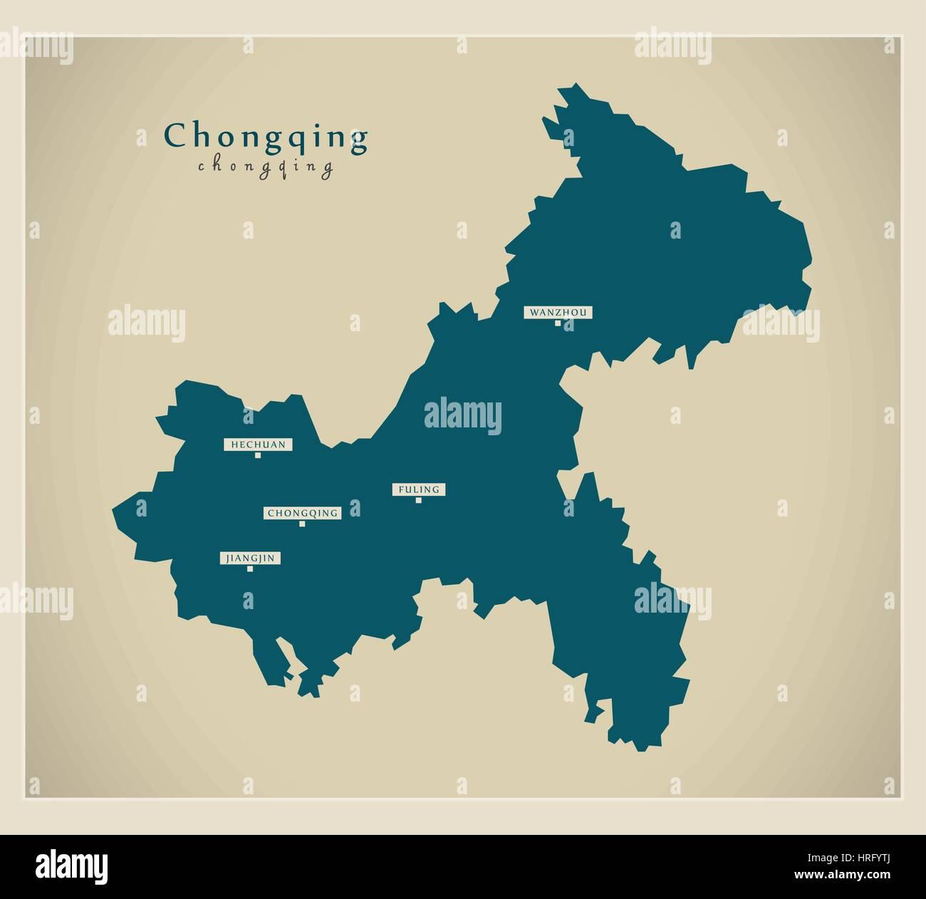 Modern Map - Chongqing - Stock Image