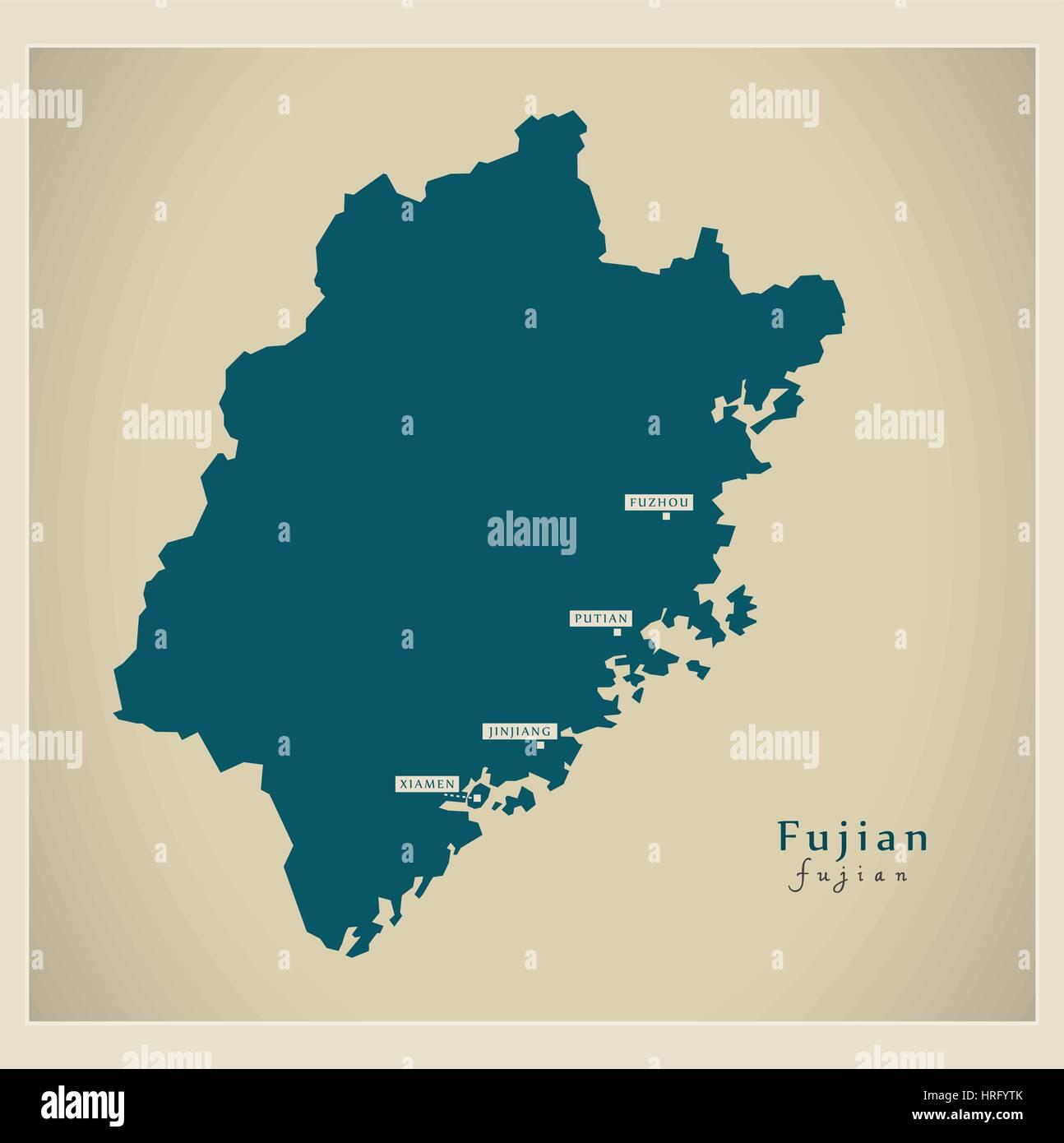 Modern Map - Fujian - Stock Image