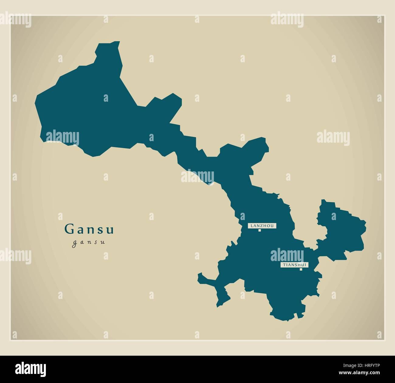 Modern Map - Gansu - Stock Image