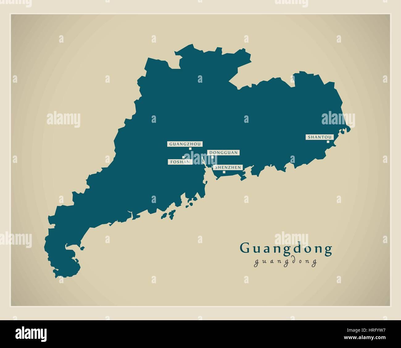 Modern Map - Guangdong - Stock Image