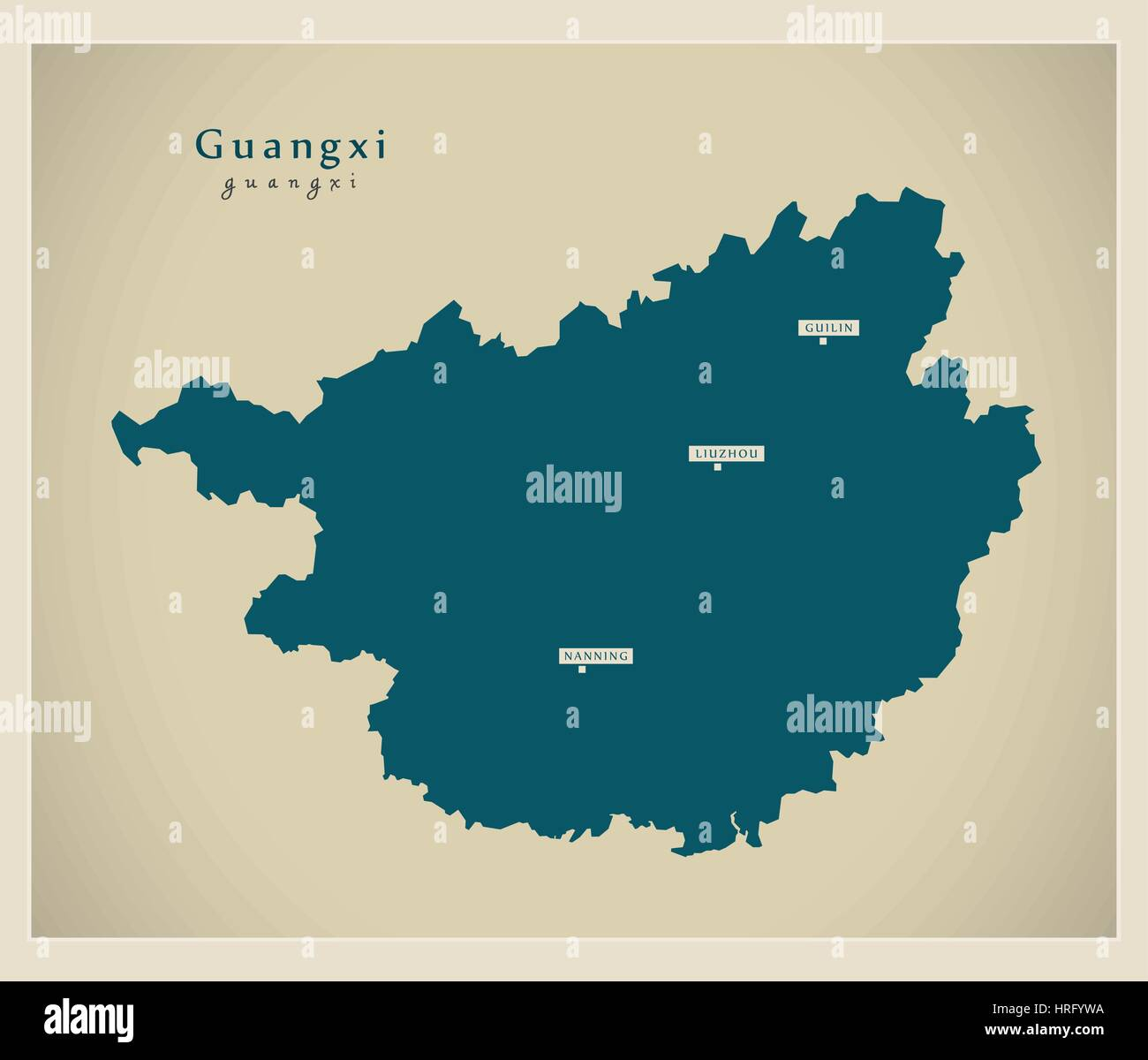 Modern Map - Guangxi - Stock Image