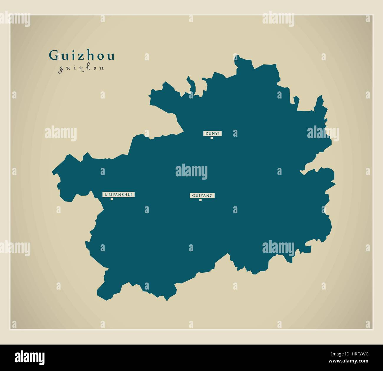 Modern Map - Guizhou - Stock Image