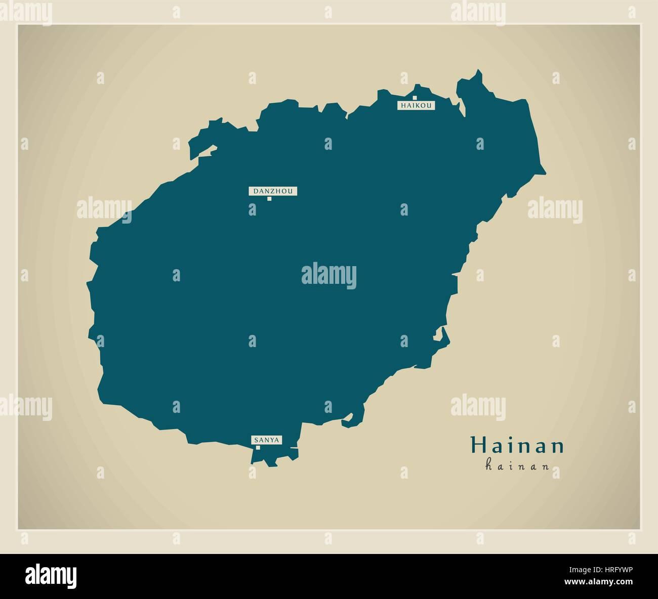 Modern Map - Hainan - Stock Image