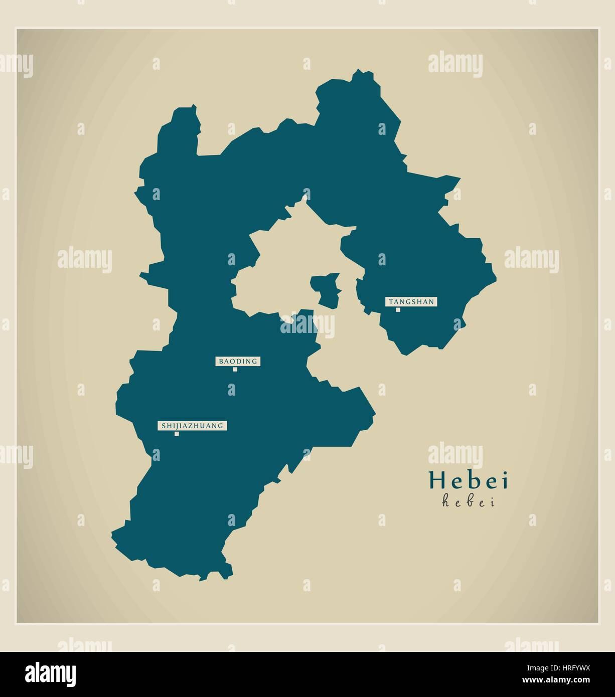 Modern Map - Hebei - Stock Image