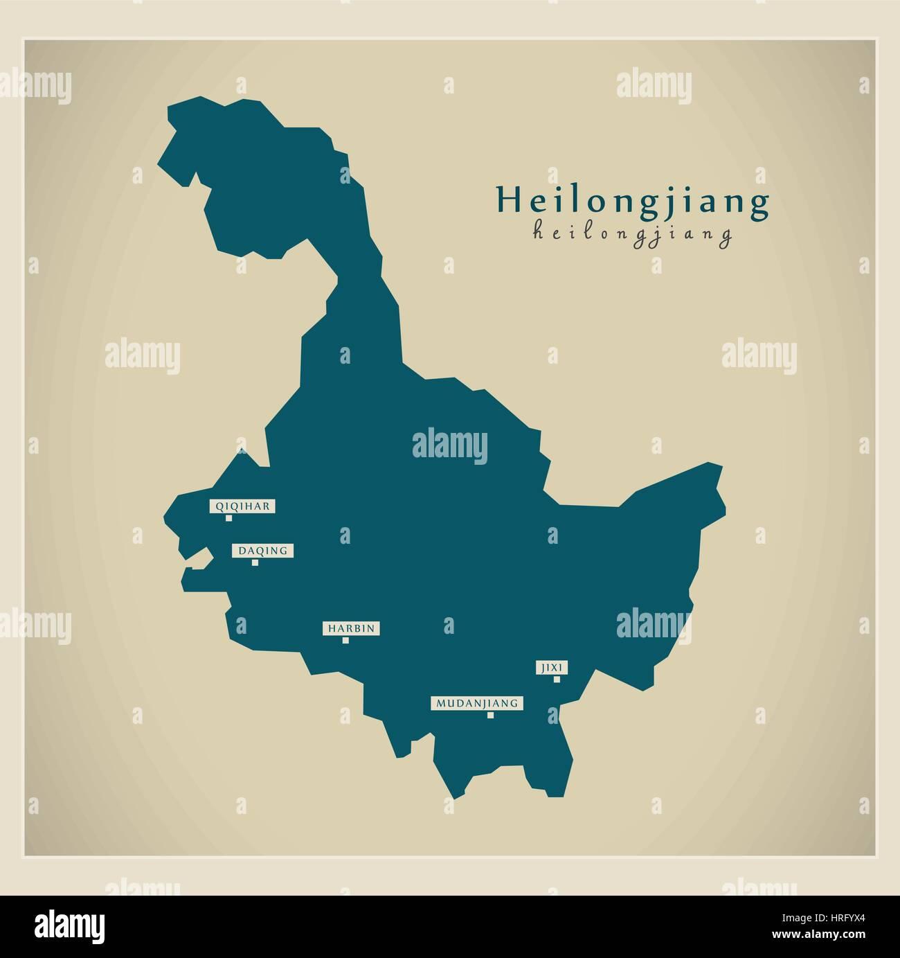 Modern Map - Heilongjiang - Stock Image