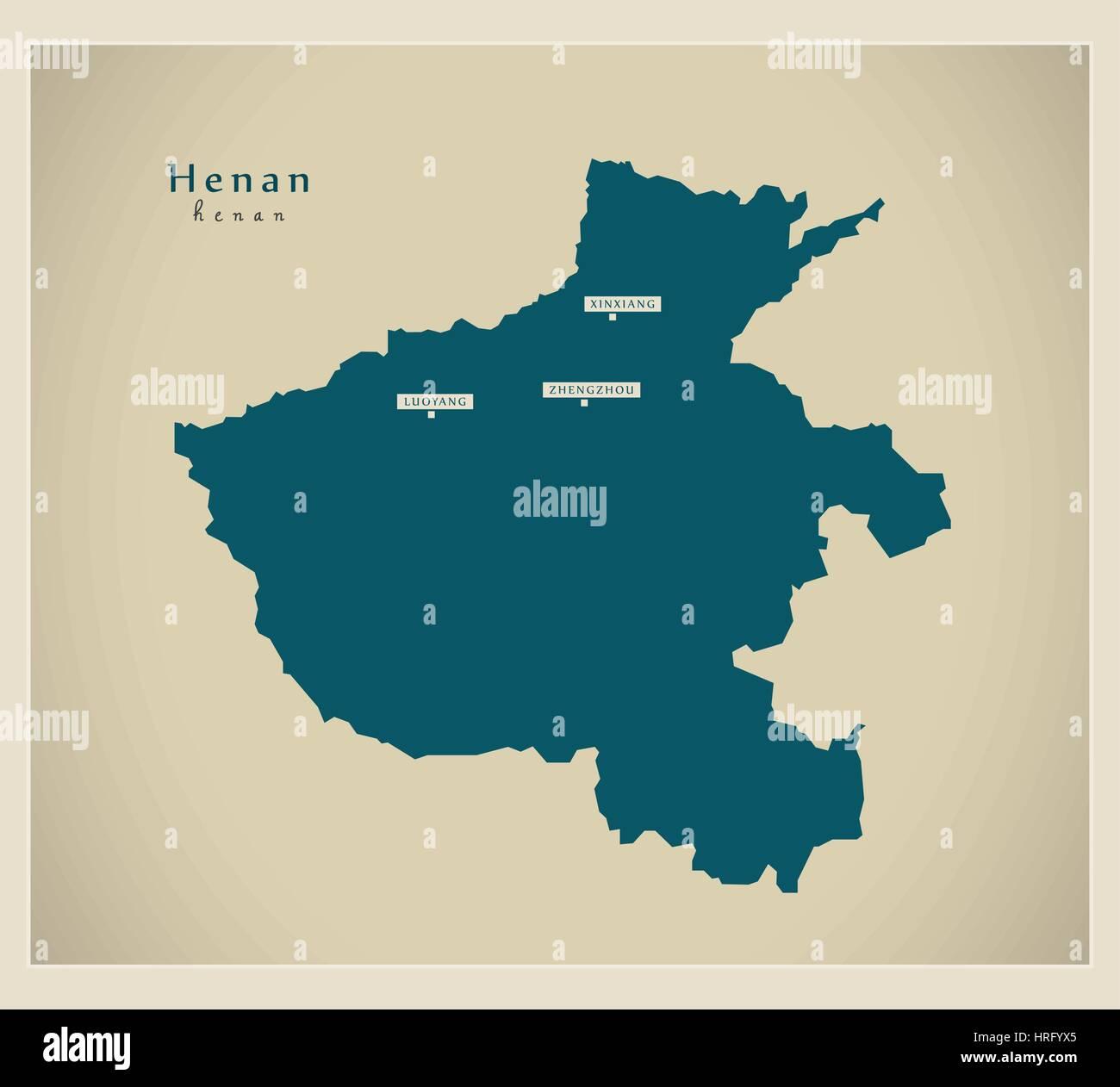 Modern Map - Henan - Stock Image