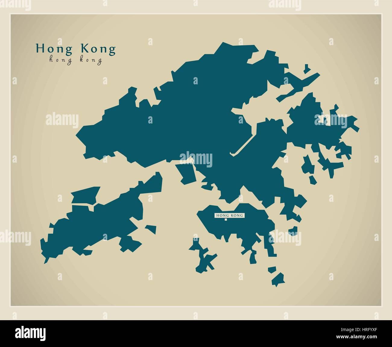 Modern Map - Hong Kong - Stock Image