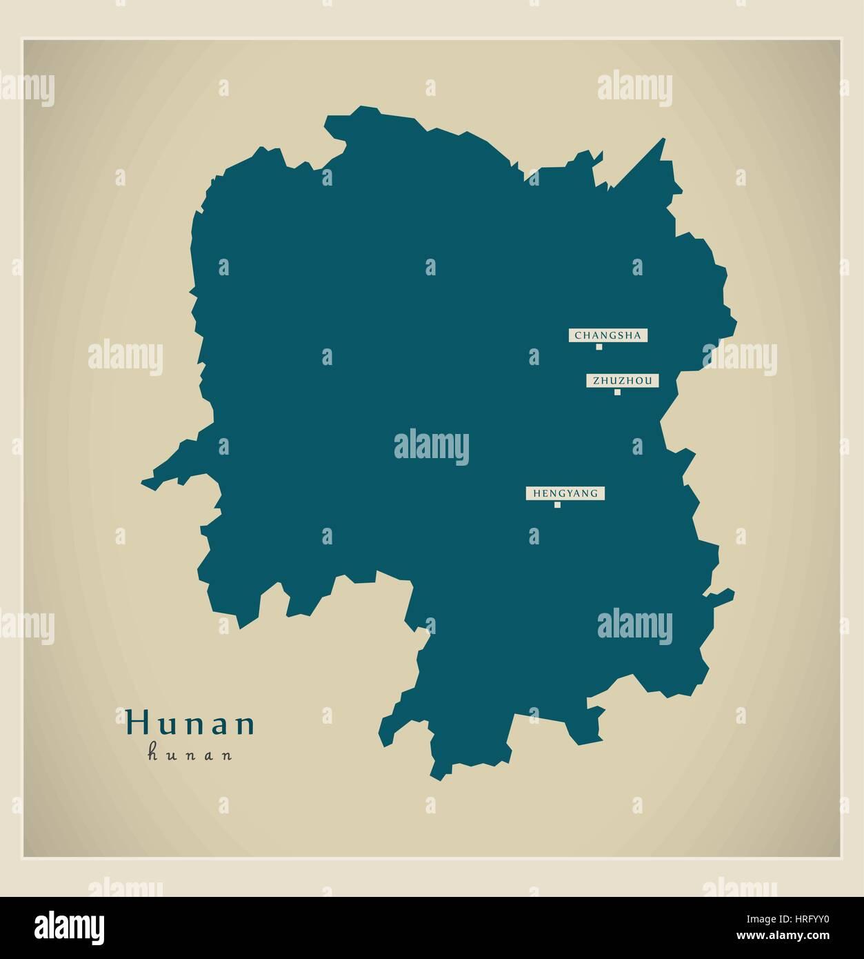 Modern Map - Hunan - Stock Image