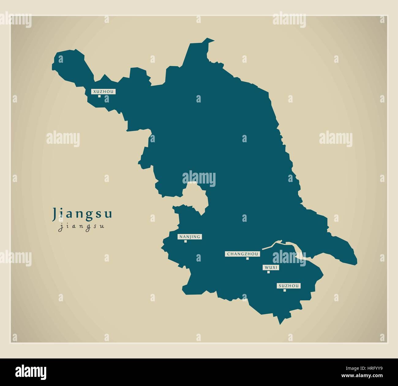 Modern Map - Jiangsu - Stock Image