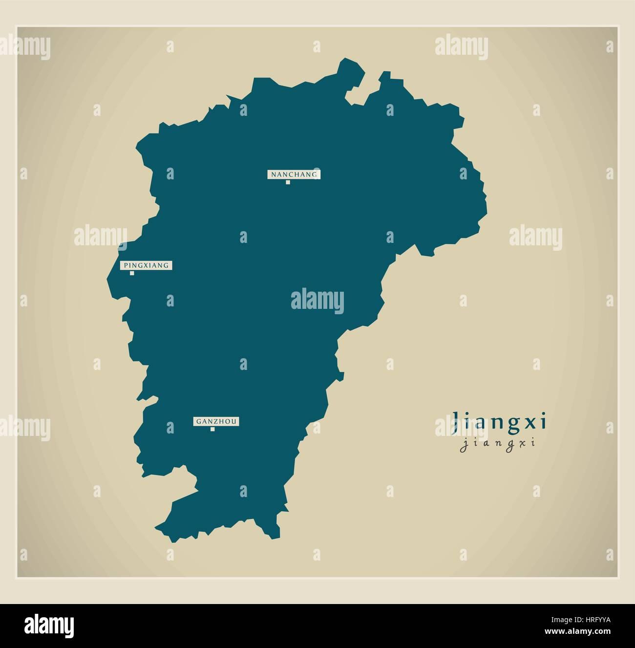 Modern Map - Jiangxi - Stock Image