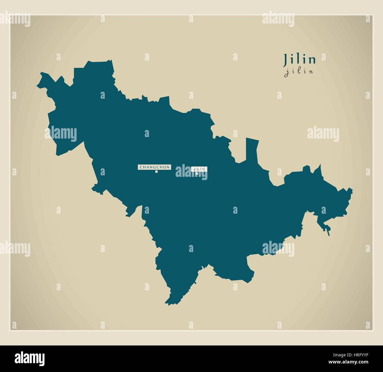 Modern Map - Jilin - Stock Image