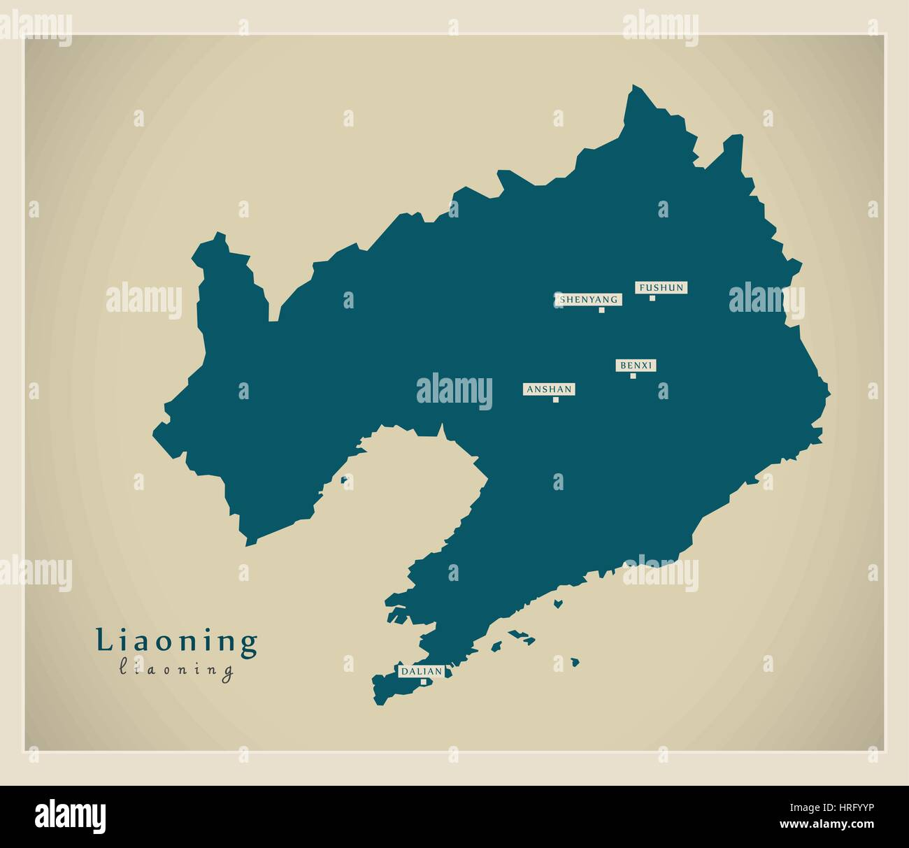 Modern Map - Liaoning - Stock Image